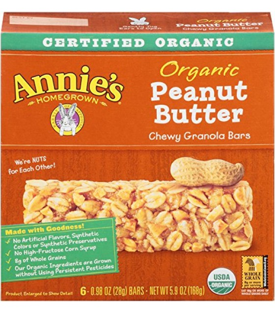 [Annie`S Homegrown] Organic Granola Bars Peanut Butter  At least 95% Organic