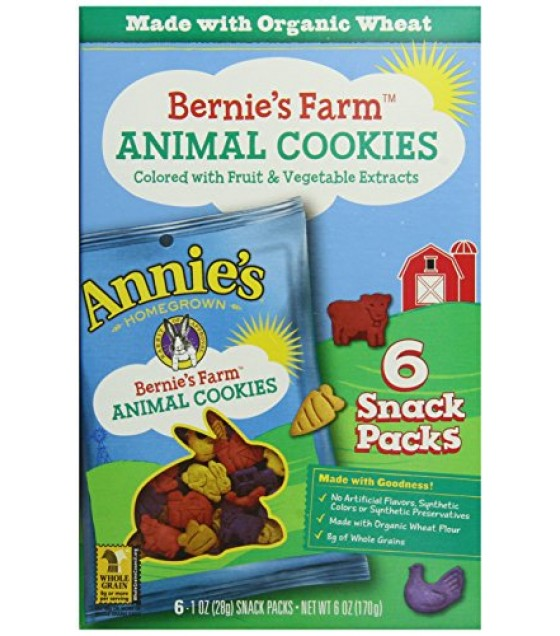 [Annie`S Homegrown] Organic Bernie`s Farm Animal Cookies Snack Pack  At least 70% Organic