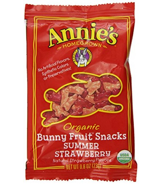 [Annie`S Homegrown] Organic Bunny Fruit Snacks Summer Strawberry, Single Serve  At least 95% Organic