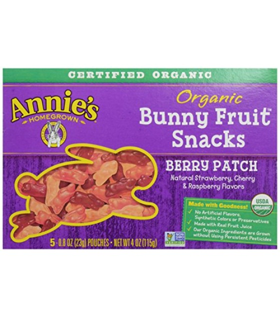 [Annie`S Homegrown] Organic Bunny Fruit Snacks Berry Patch  At least 95% Organic