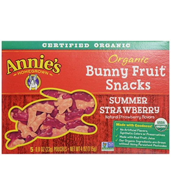[Annie`S Homegrown] Organic Bunny Fruit Snacks Summer Strawberry  At least 95% Organic