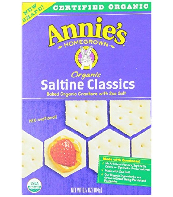 [Annie`S Homegrown] Organic Classic Crackers Saltine  At least 95% Organic