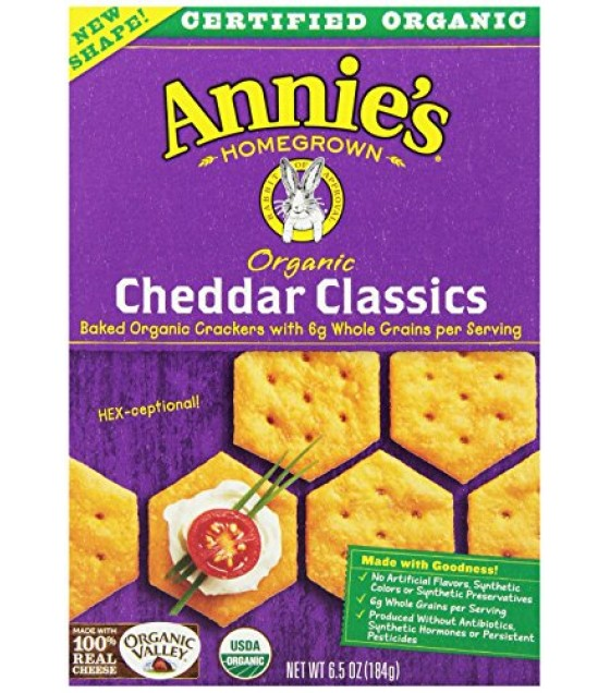 [Annie`S Homegrown] Organic Classic Crackers Cheddar  At least 95% Organic