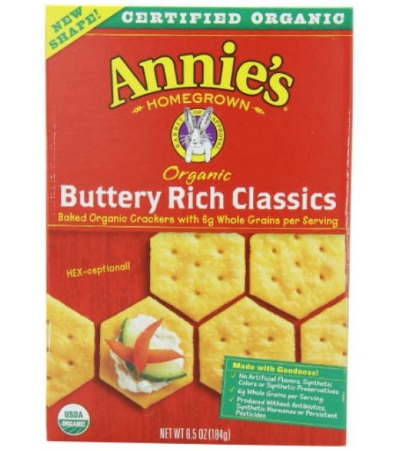 [Annie`S Homegrown] Organic Classic Crackers Buttery Rich  At least 95% Organic