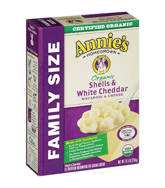 [Annie`S Homegrown] Organic Mac & Cheese Shells & Cheddar, Family Size  At least 95% Organic