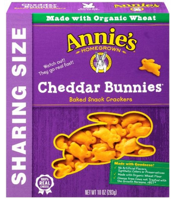 [Annie`S Homegrown] Crackers Cheddar Bunnies, Baked Snack  At least 70% Organic