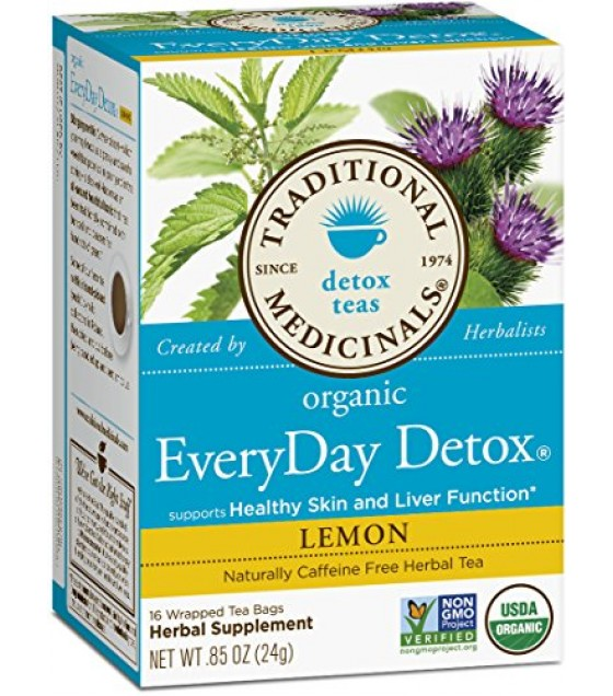 [Traditional Medicinals] Traditional Blends Everyday Detox, Lemon  At least 95% Organic