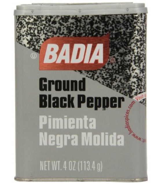 [Badia Spices] Caribbean Hispanic Spices/Seasonings Black Pepper, Ground, Can