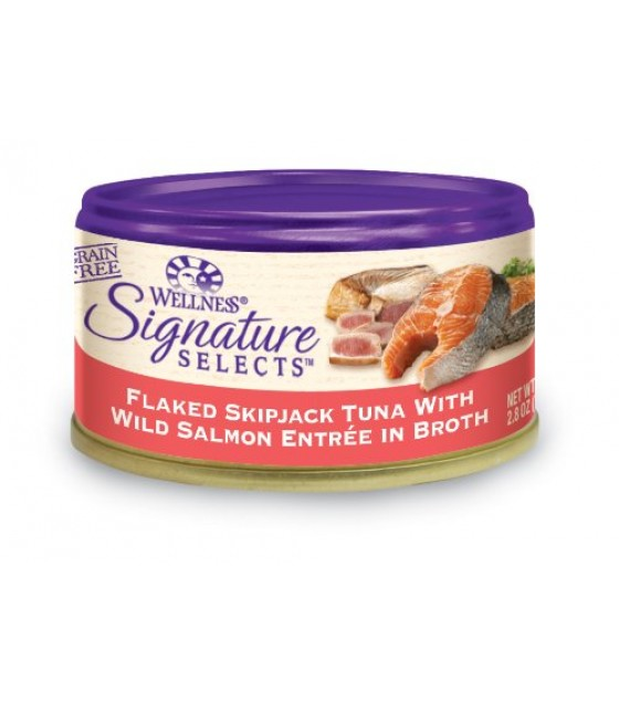 [Wellness] Signature Selects-Cat Food, Canned Flkd Skpjck Tuna/Wld Slmn in Broth
