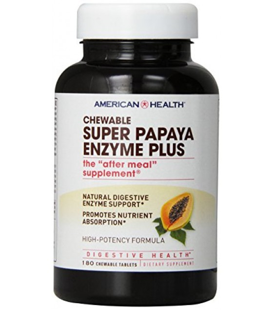 [American Health] Chewable Enzymes Papaya, Super Plus