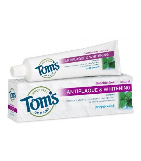 [Tom`S Of Maine] Toothpaste, Flouride Free Peppermint, Tartar Control+Whitening