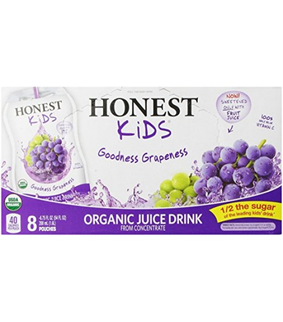 [Honest Kids] No Sugar Added Cartons Goodness Grapeness Juice  At least 95% Organic