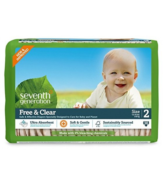 [Seventh Generation] Diapers Stage 2, 12-18 lb