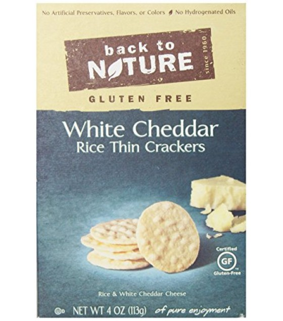 [Back To Nature] Crackers Rice Thin, White Cheddar