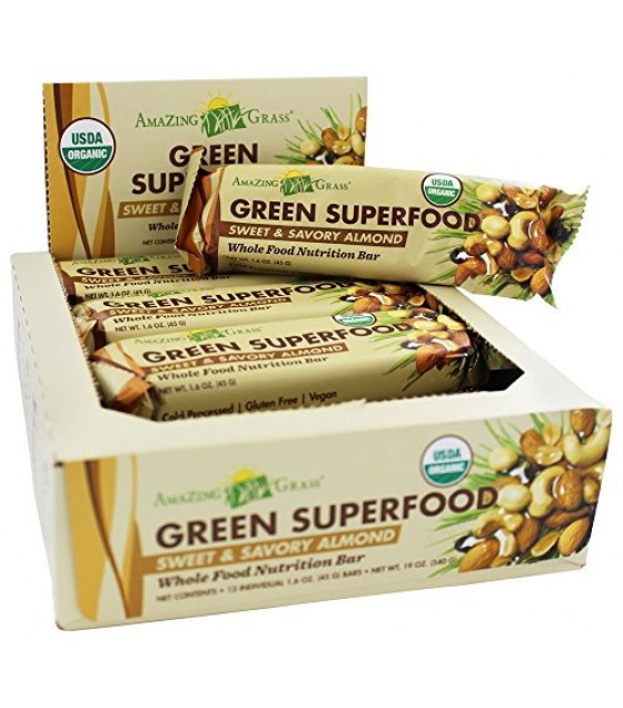 [Amazing Grass] Green Superfood Sweet & Savory Almond  At least 95% Organic