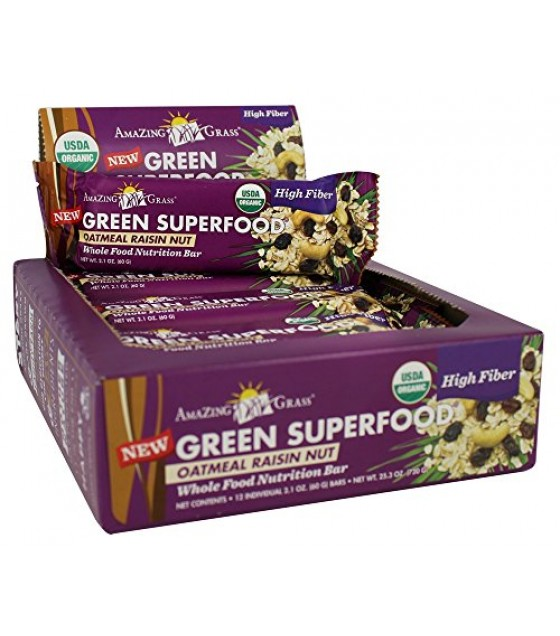 [Amazing Grass] Green Superfood Oatmeal Raisin  At least 95% Organic