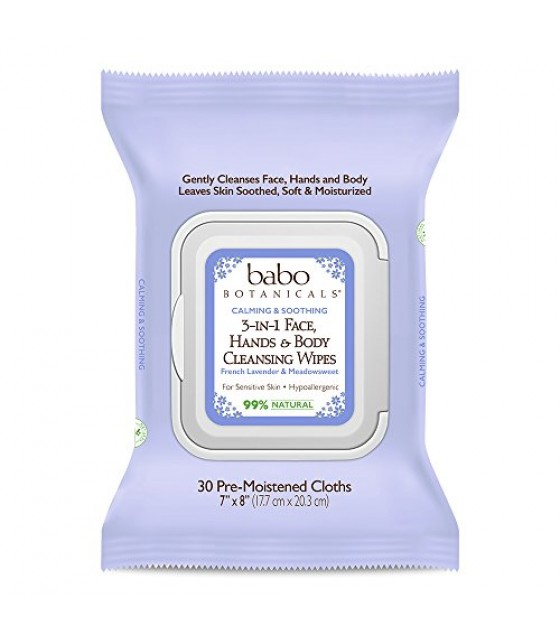 [babo Botanicals] Wipes,face,3/1,french Lav