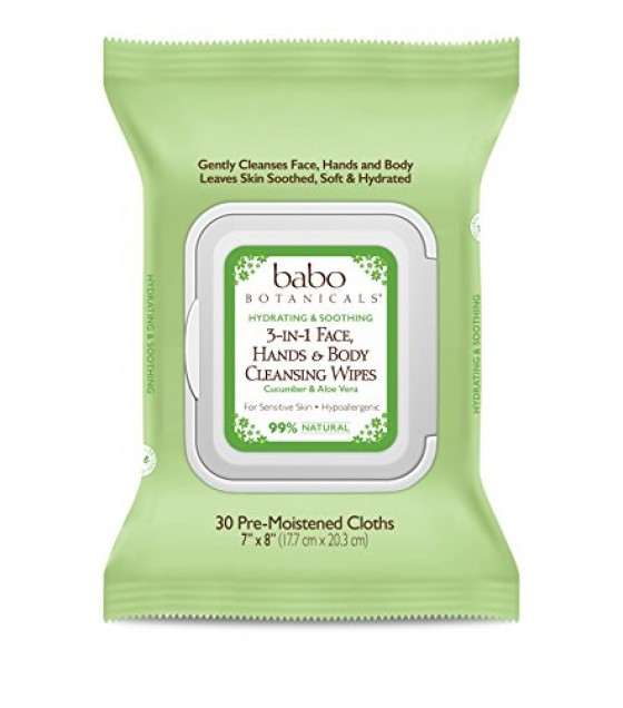 [babo Botanicals] Cleansing Wipes; 3 In 1 Face, Hands And Body